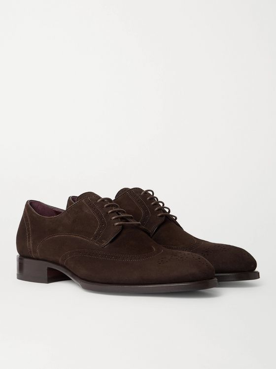 BRIONI Suede Brogue Derby Shoes