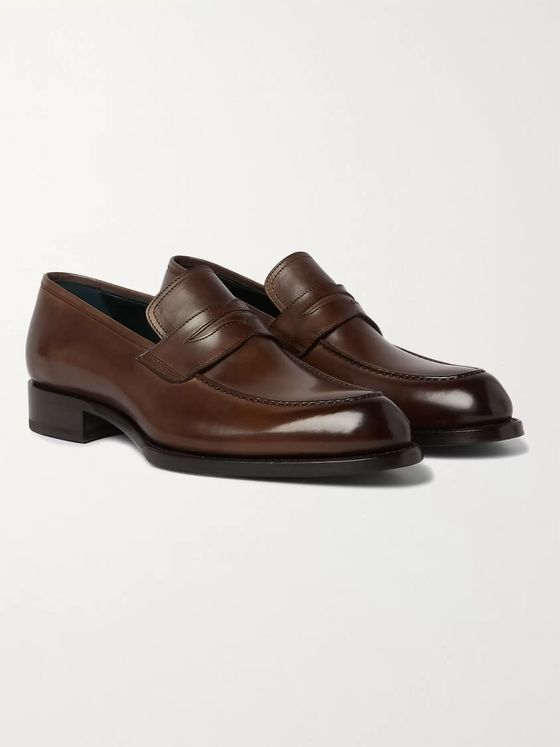 BRIONI Polished-Leather Penny Loafers