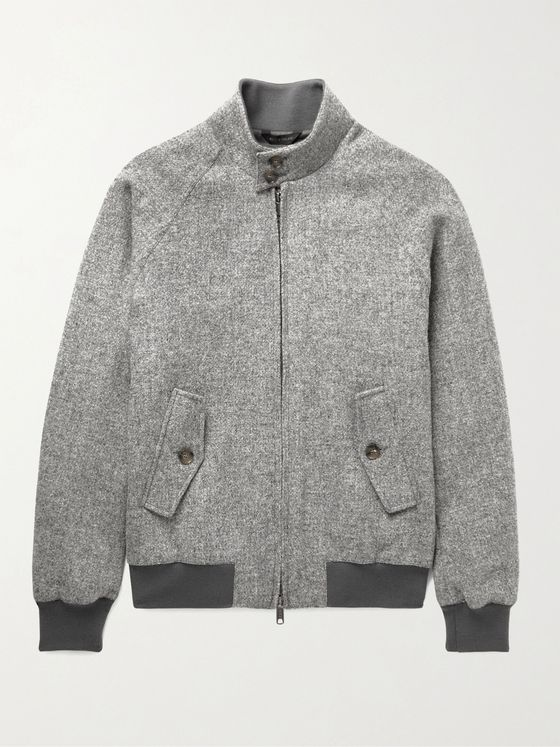 BARACUTA G9 Mélange Virgin Wool-Tweed Harrington Jacket