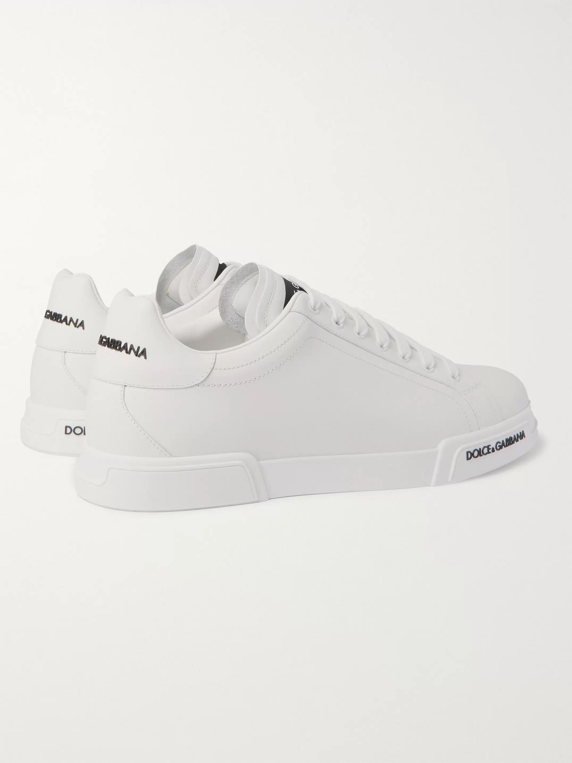Dolce & Gabbana Logo-Appliquéd Rubber-Trimmed Leather Sneakers