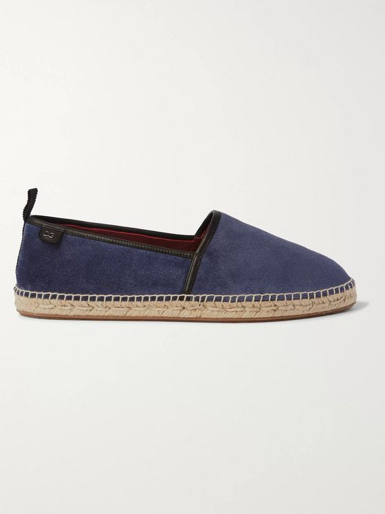 DOLCE & GABBANA Leather-Trimmed Suede Espadrilles
