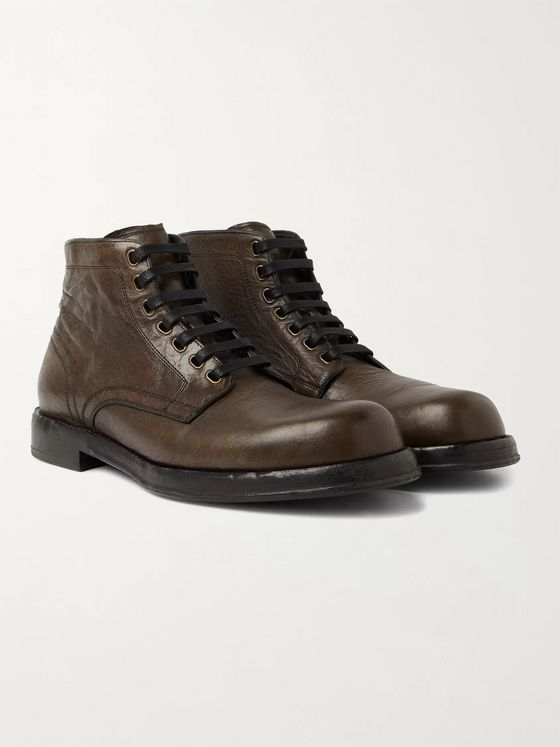 Dolce & Gabbana Distressed Crinkled-Leather Boots