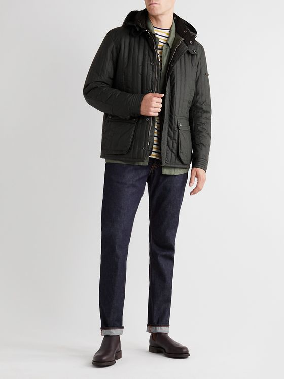 Barbour Gold Standard Supa-Convertible Padded Quilted Waxed-Cotton Jacket