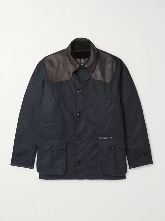 Barbour Gold Standard Supa-Ashby Leather-Trimmed Waxed-Cotton Jacket