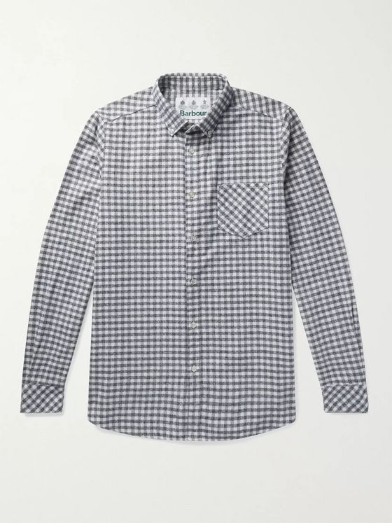 Barbour White Label Fitzgerald Button-Down Collar Gingham Cotton-Flannel Shirt