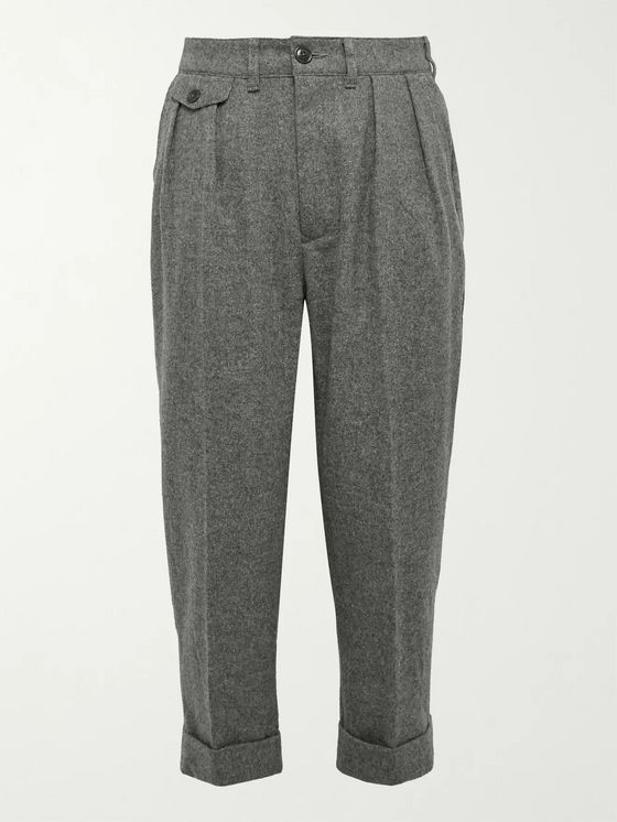 Barbour White Label Chester Tapered Pleated Mélange Wool-Blend Felt Trousers