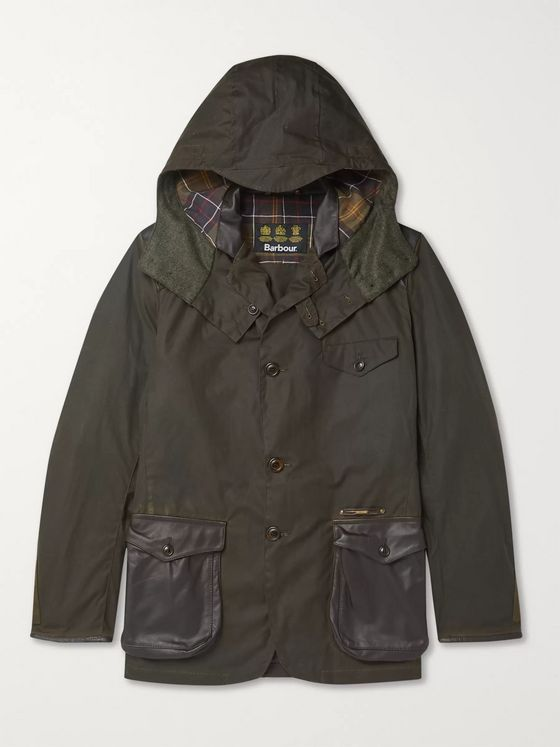 Barbour Gold Standard Supa-Commander Leather and Suede-Trimmed Quilted Waxed-Cotton Jacket