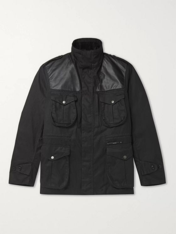 Barbour Gold Standard Supa-Corbridge Leather-Trimmed Waxed-Cotton Jacket