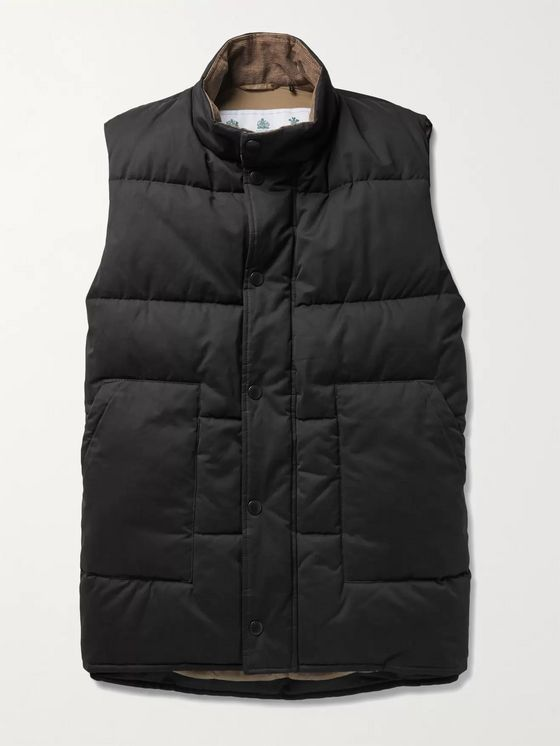 Barbour White Label Corduroy-Trimmed Padded Quilted Brushed-Shell Gilet