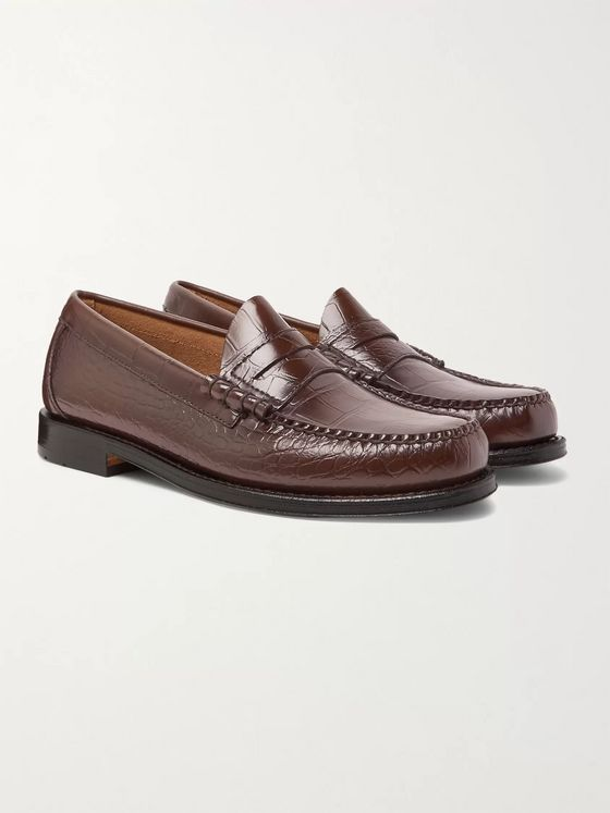 G.H. Bass & Co. Weejuns Larson Croc-Effect Leather Penny Loafers