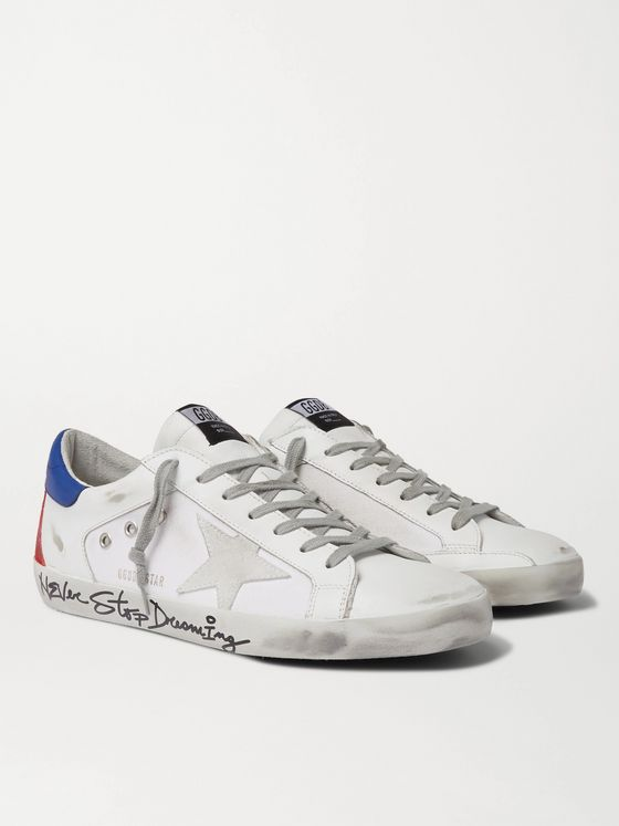Golden Goose Superstar Distressed Leather, Canvas and Suede Sneakers