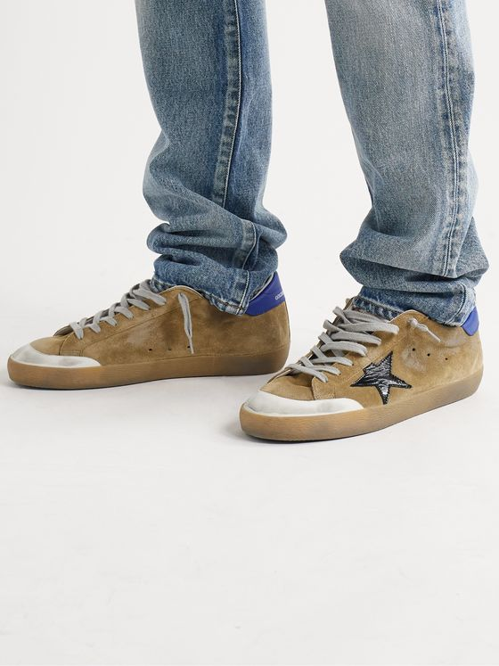GOLDEN GOOSE Superstar Distressed Suede and Leather Sneakers