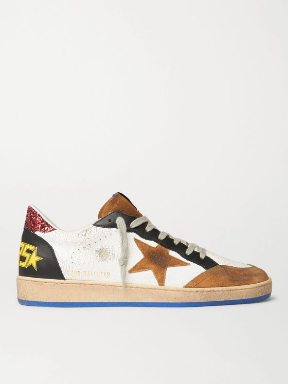Golden Goose Ball Star Distressed Cracked-Leather and Suede Sneakers
