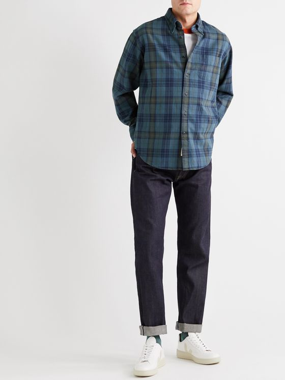 Bellerose Button-Down Collar Checked Brushed-Cotton Shirt