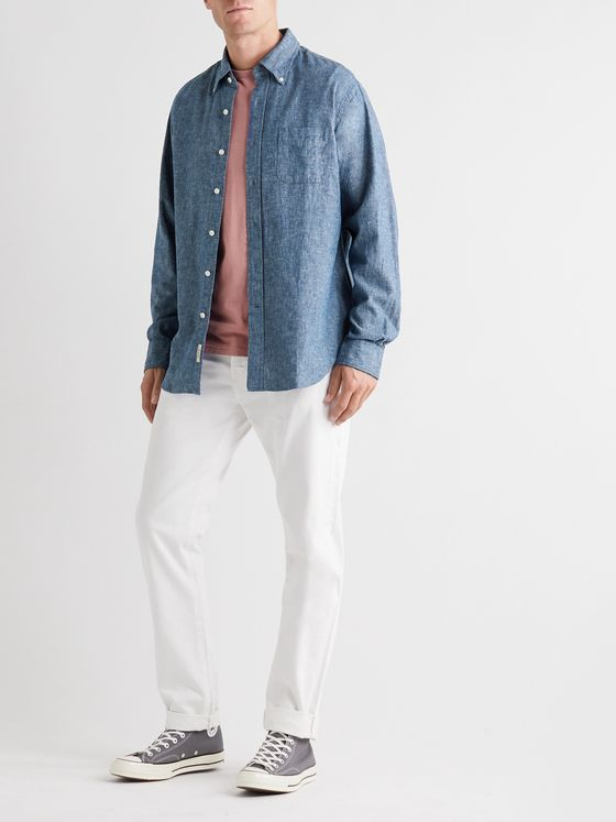 Bellerose Button-Down Collar Linen and Cotton-Blend Chambray Shirt
