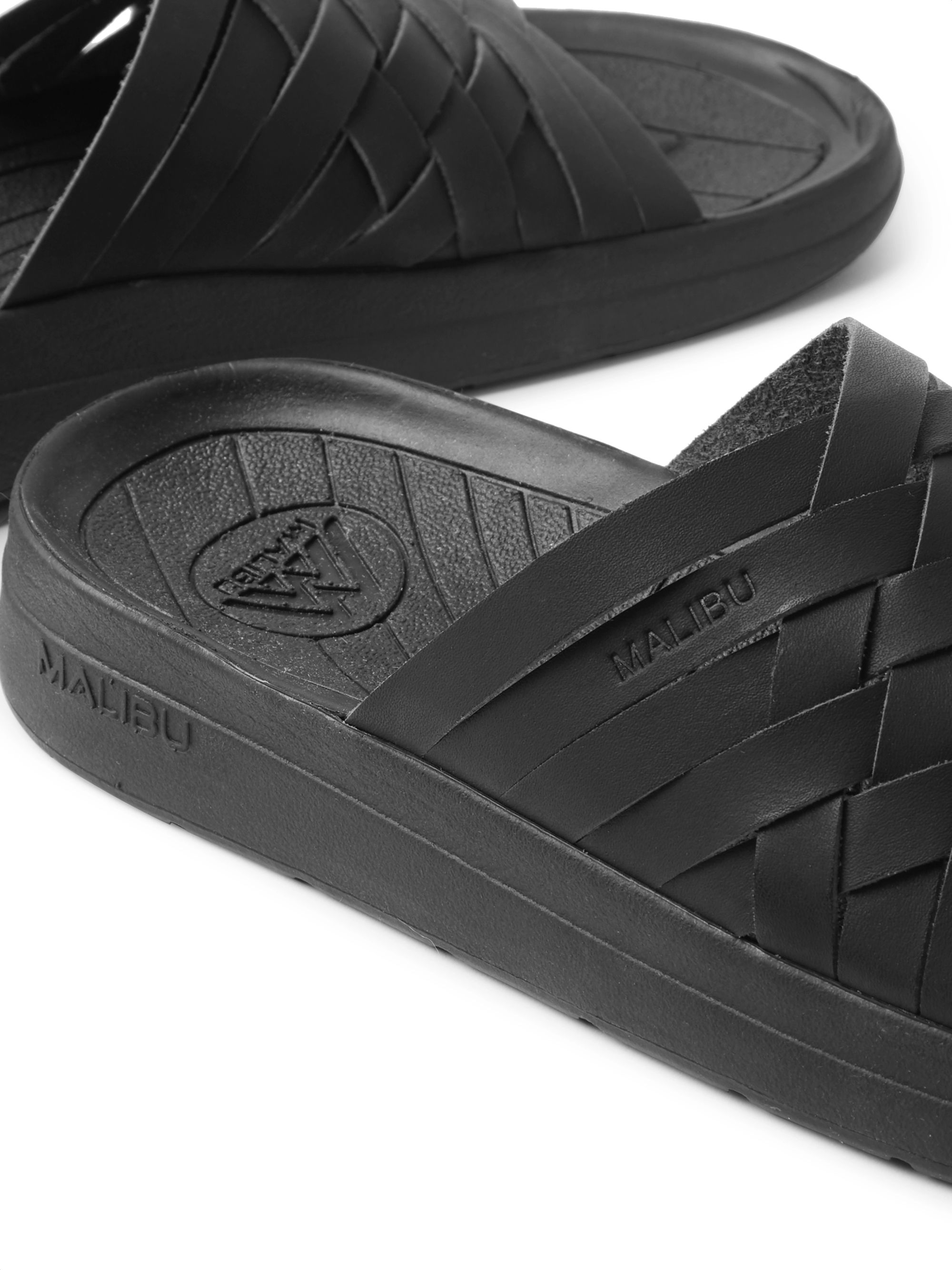 Malibu Zuma Woven Faux Leather Slides