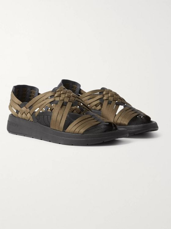 Malibu Canyon Faux Leather-Trimmed Woven Webbing Sandals