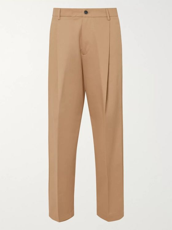 Barena Tapered Cropped Pleated Cotton-Twill Trousers