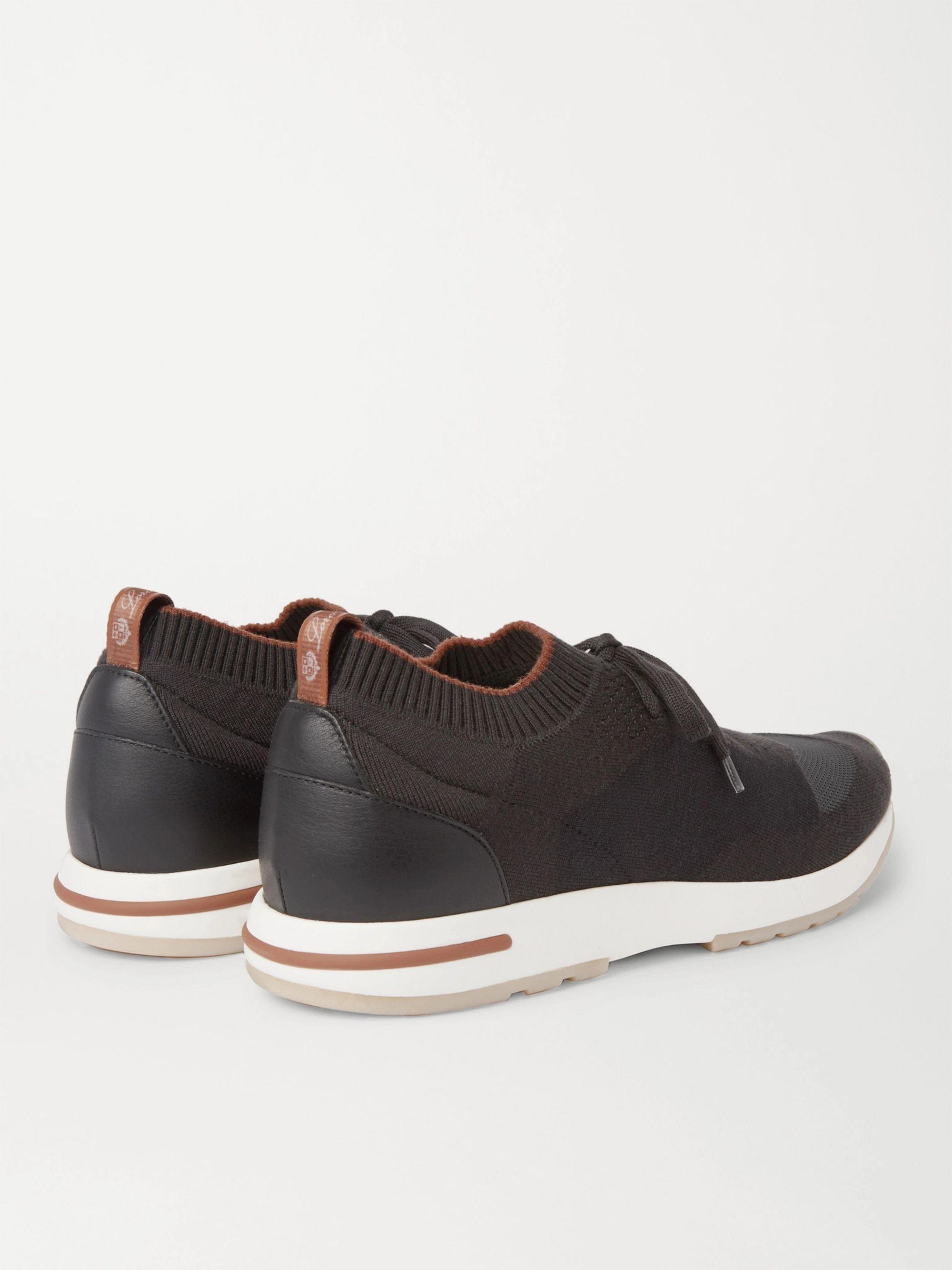 Black 360 Flexy Walk Leather-trimmed Knitted Wool Sneakers | Loro Piana
