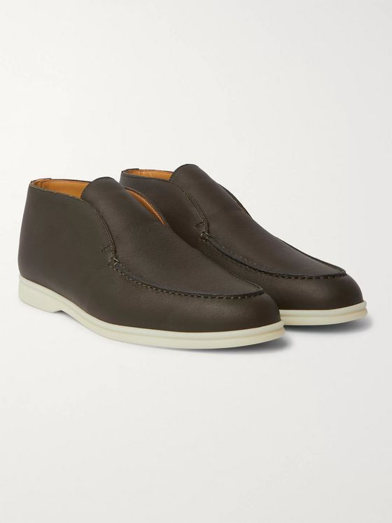 LORO PIANA Open Walk Full-Grain Leather Boots