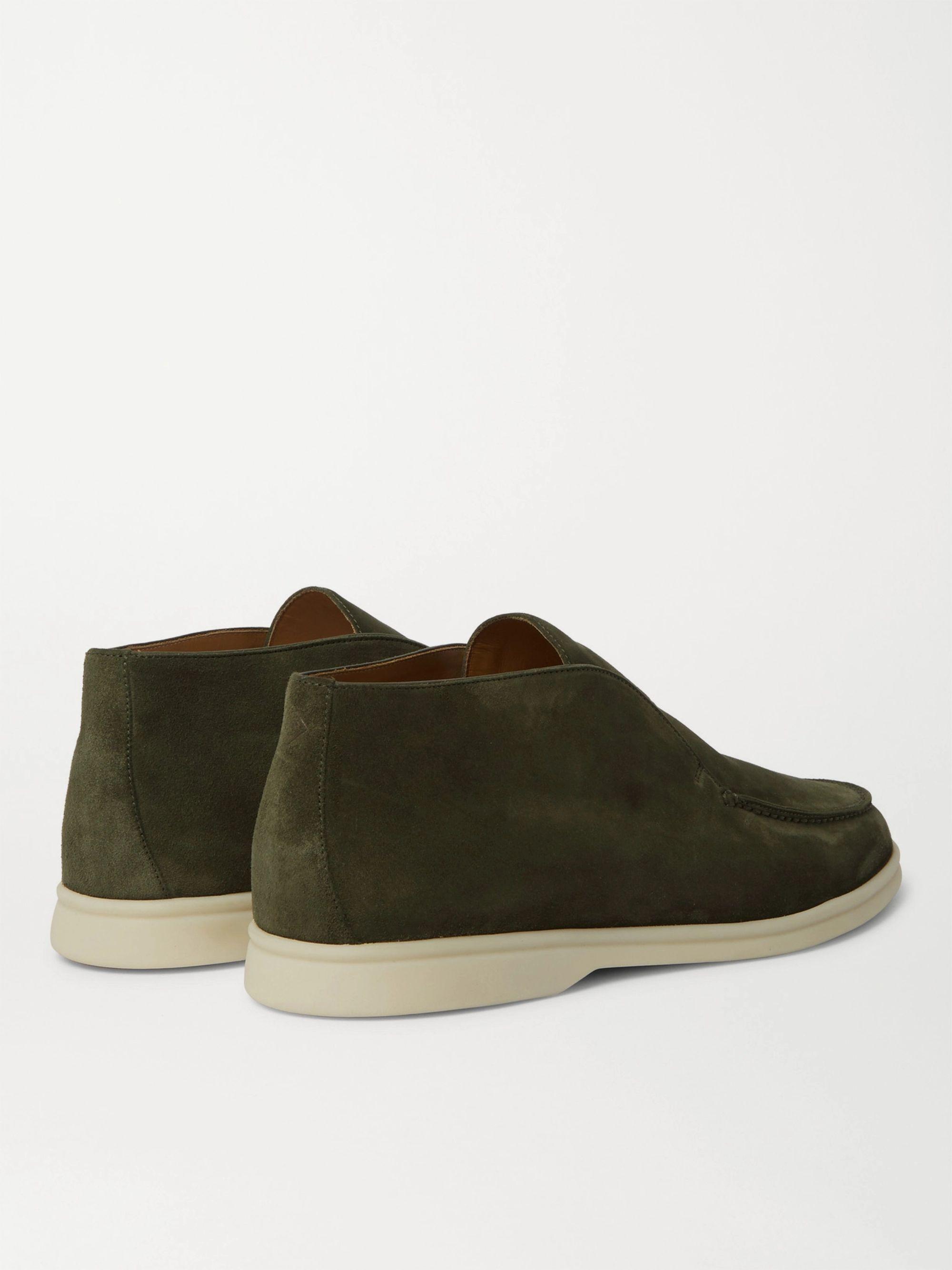 Green Open Walk Suede Boots   Loro Piana