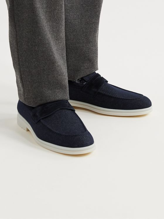 LORO PIANA Summer City Walk Suede-Trimmed Wool-Blend Denim Loafers
