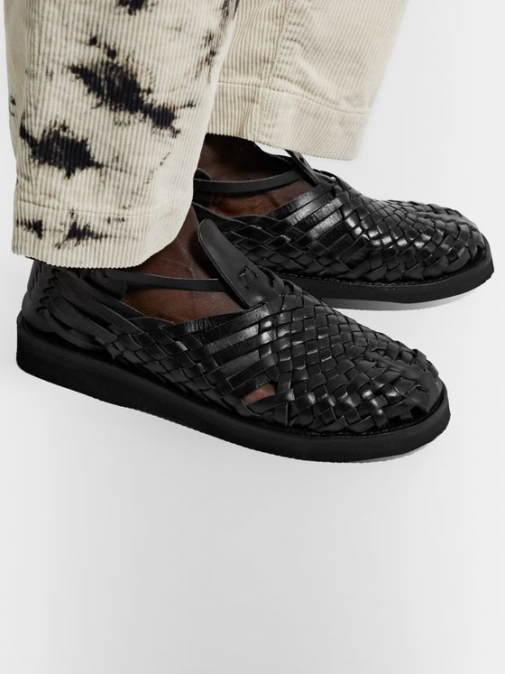 YUKETEN Cruz Woven Leather Huarache Sandals