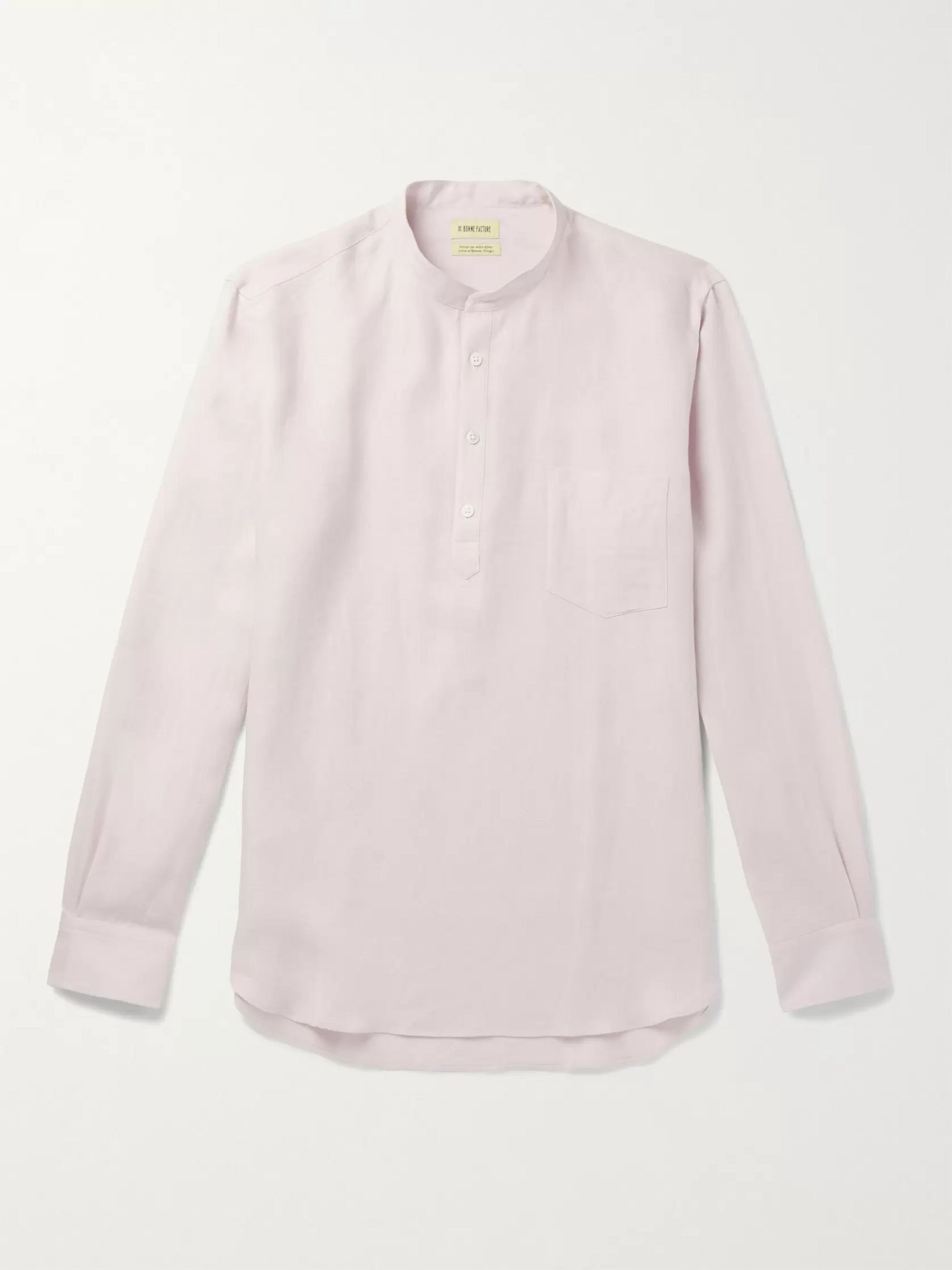 De Bonne Facture Grandad-Collar Linen Half-Placket Shirt