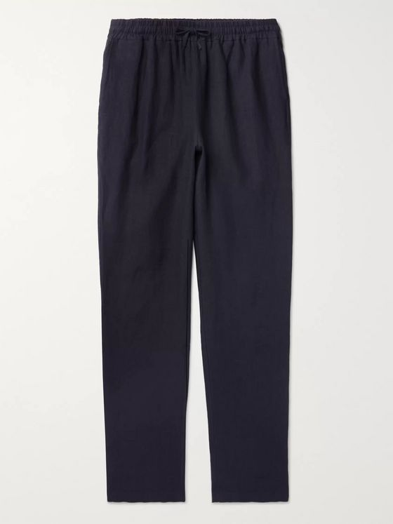 De Bonne Facture Tapered Linen Drawstring Trousers