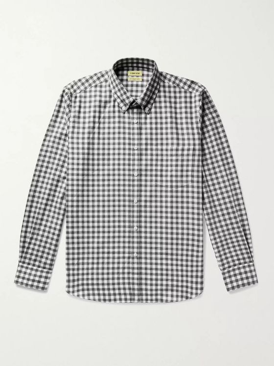 De Bonne Facture Button-Down Collar Gingham Cotton-Twill Shirt
