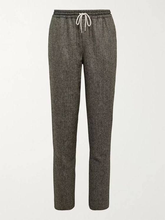 De Bonne Facture Tapered Herringbone Wool Drawstring Trousers