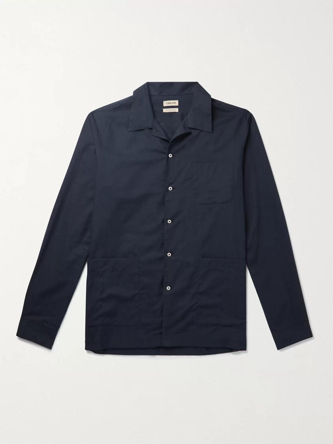 De Bonne Facture Cotton-twill Pyjama Shirt In Blue