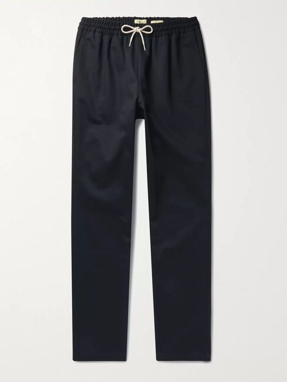 De Bonne Facture Tapered Cotton-Twill Drawstring Trousers
