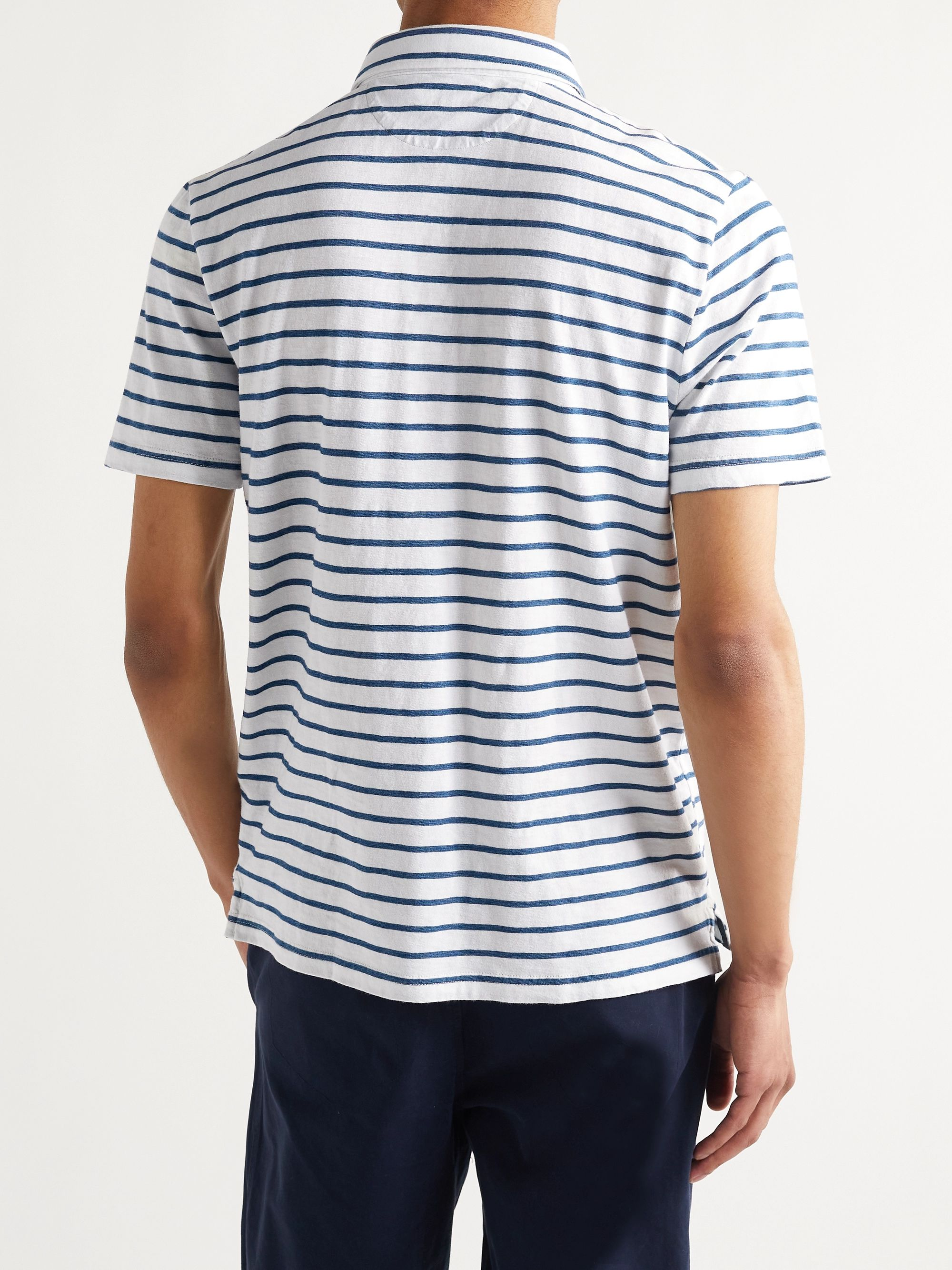 FAHERTY Garment-Washed Striped Cotton-Jersey Polo Shirt