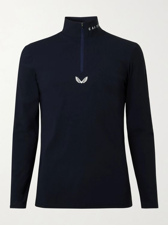 CASTORE Garda Slim-Fit Logo-Print Stretch-Shell Half-Zip Top