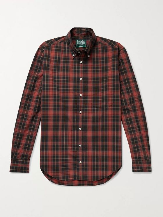 Gitman Vintage Slim-Fit Button-Down Collar Checked Cotton-Poplin Shirt