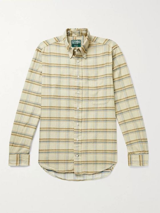 GITMAN VINTAGE Slim-Fit Button-Down Collar Checked Cotton-Corduroy Shirt
