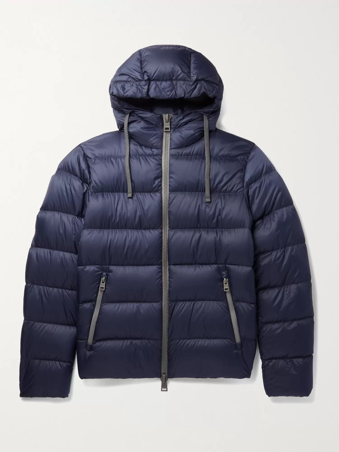 Herno Quilted Shell Down Hooded Jacket In Blue