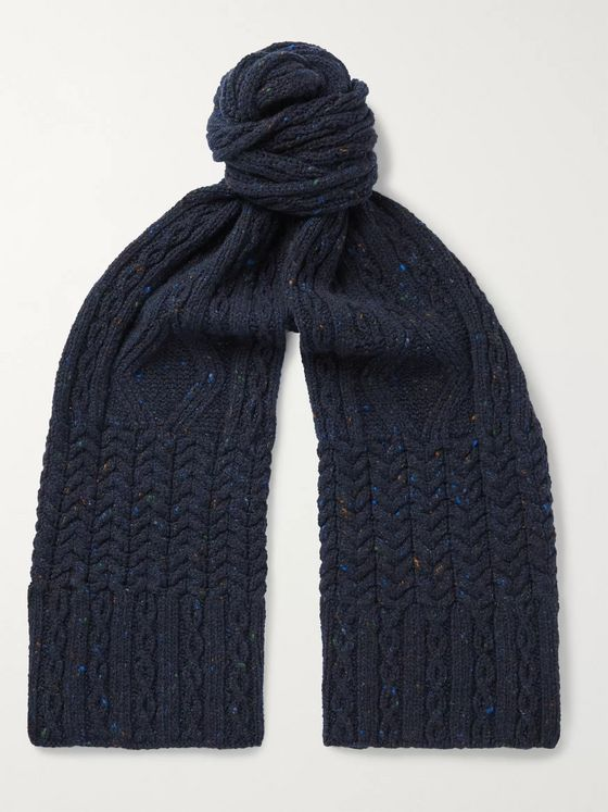 Inis Meáin Cable-Knit Donegal Merino Wool and Cashmere-Blend Scarf