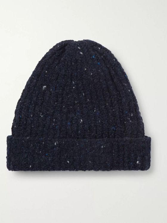 Inis Meáin Ribbed Donegal Merino Wool and Cashmere-Blend Beanie