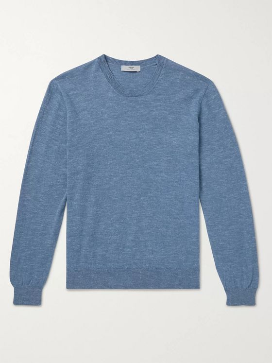 Inis Meáin Mélange Wool and Linen-Blend Sweater