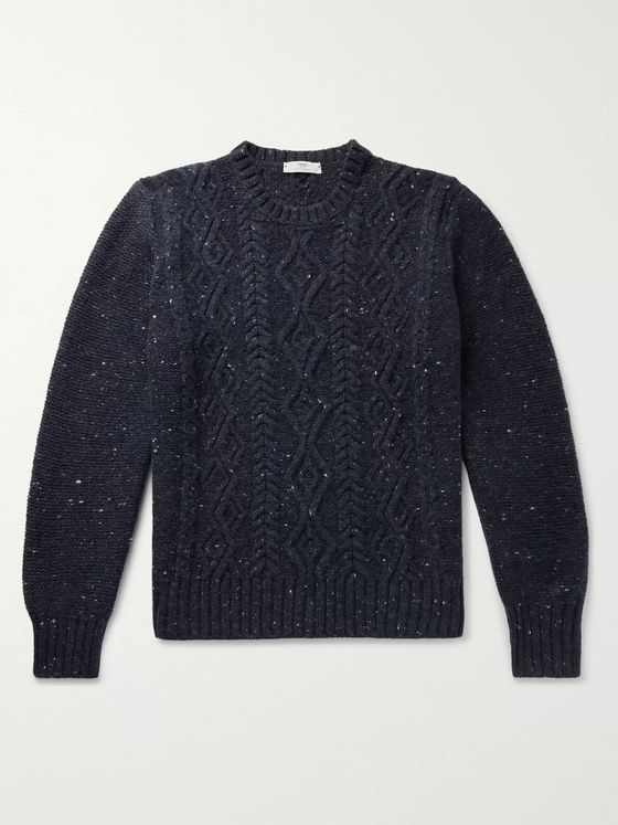 Inis Meáin Flecked Cable-Knit Merino Wool and Cashmere-Blend Aran Sweater