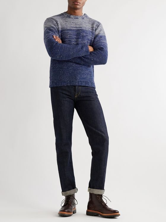 Inis Meáin Dégradé Merino Wool and Cashmere-Blend Mock-Neck Sweater