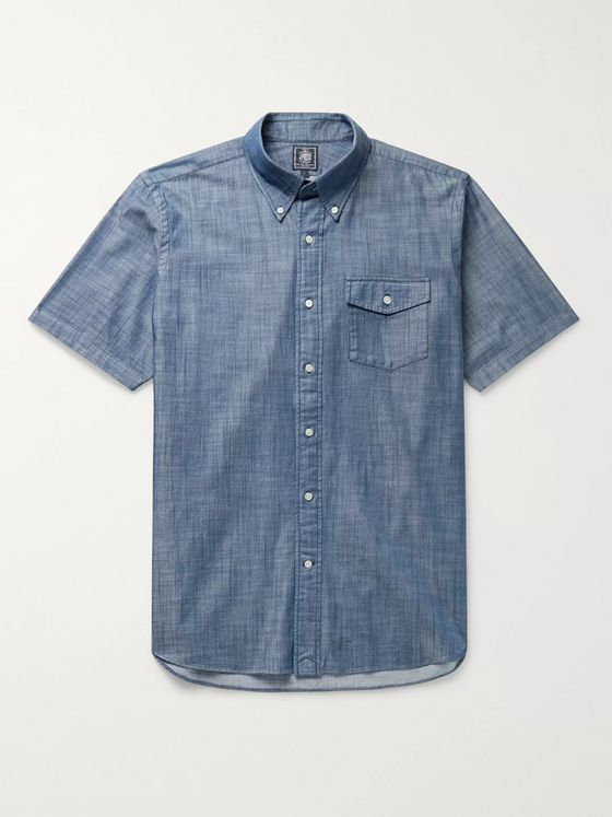 J.Press Irving Button-Down Collar Cotton-Chambray Shirt