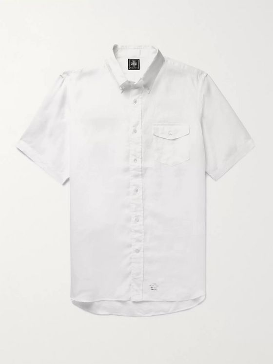 J.Press Irving Button-Down Collar Linen-Chambray Shirt
