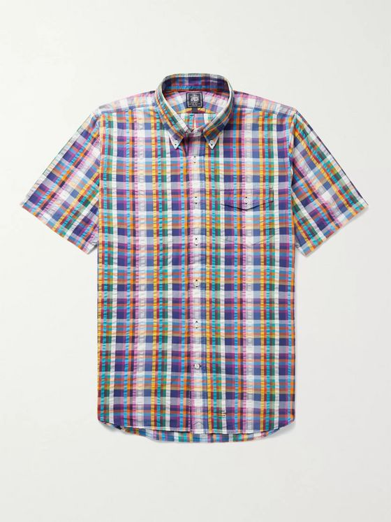 J.Press Irving Button-Down Collar Checked Cotton-Seersucker Shirt