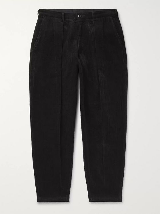 Monitaly Tapered Pleated Cotton-Corduroy Trousers