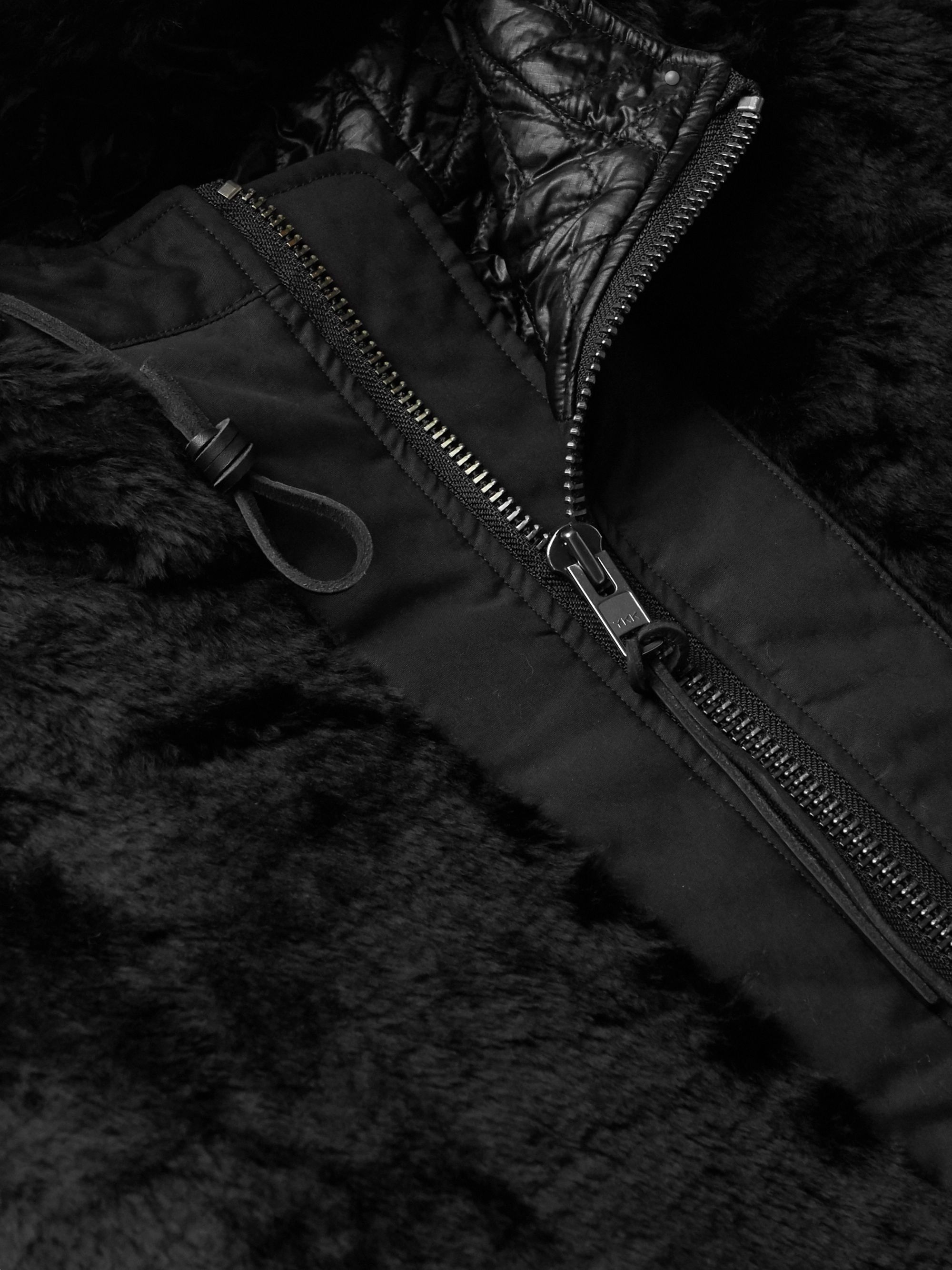 Black Kodiac Leather-trimmed Faux Fur And Vancloth Cotton Hooded Coat | Monitaly