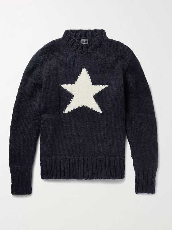 Monitaly + Chamula Star-Intarsia Merino Wool Sweater