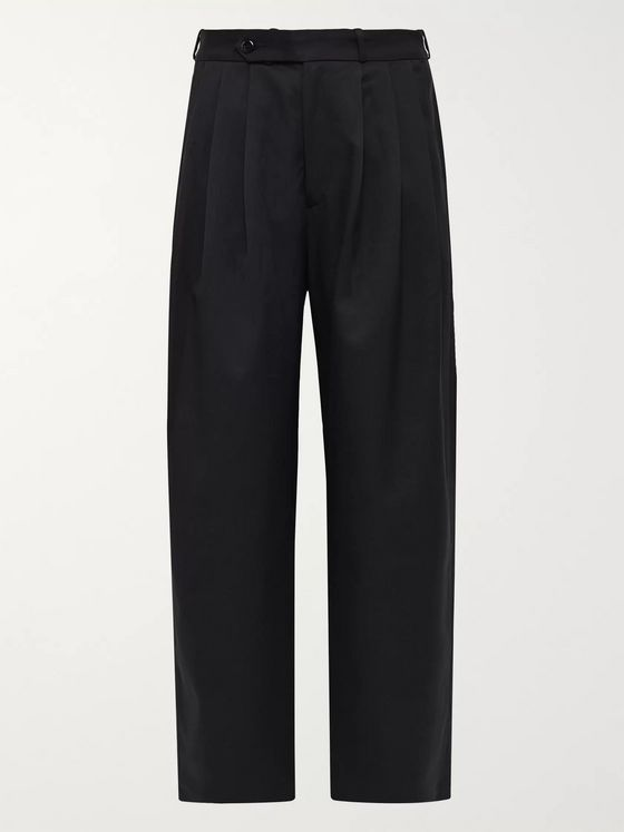 Monitaly Wide-Leg Pleated Twill Trousers